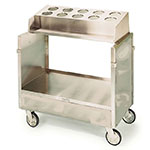 Lakeside 403 Tray Silver Cart w/ Cylinder Dispenser, 500-lb Capacity, Stainless