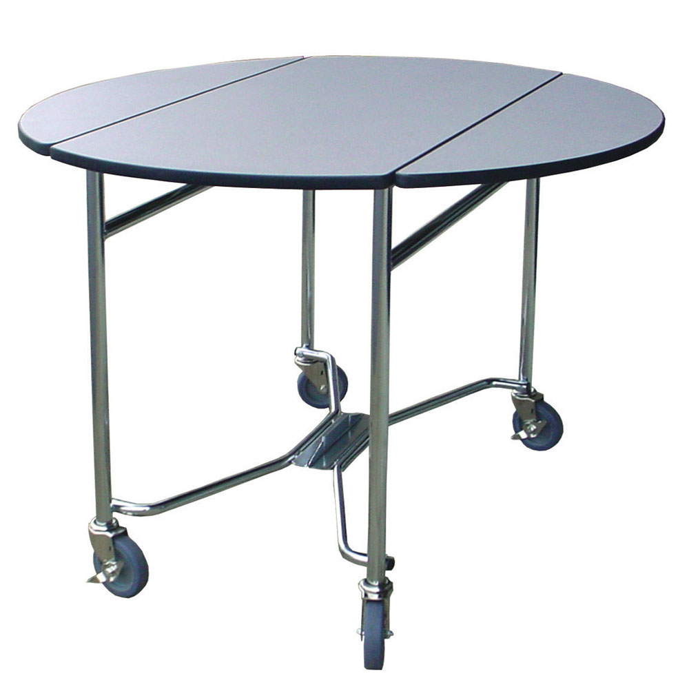 "Lakeside 412 GRSAN 40"" Round Drop-Leaf Room Service Table, Gray Sand"