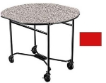 Lakeside 412 RED 40-in Round Drop-Leaf Room Service Table w/ Laminated Top, Red