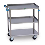 Lakeside 422 3-Level Stainless Utility Cart w/ 500-lb Capacity, Raised Ledges