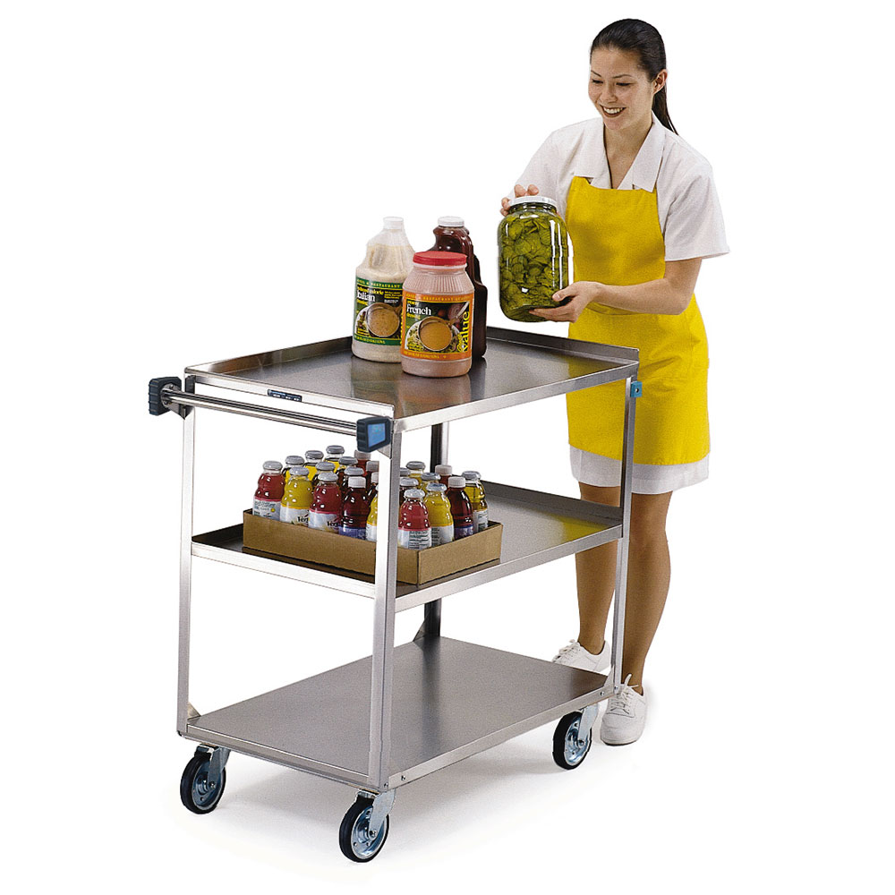444 3-Shelf Utility Cart w/ Angle Frame & Push Handle, 500-lb Capacity
