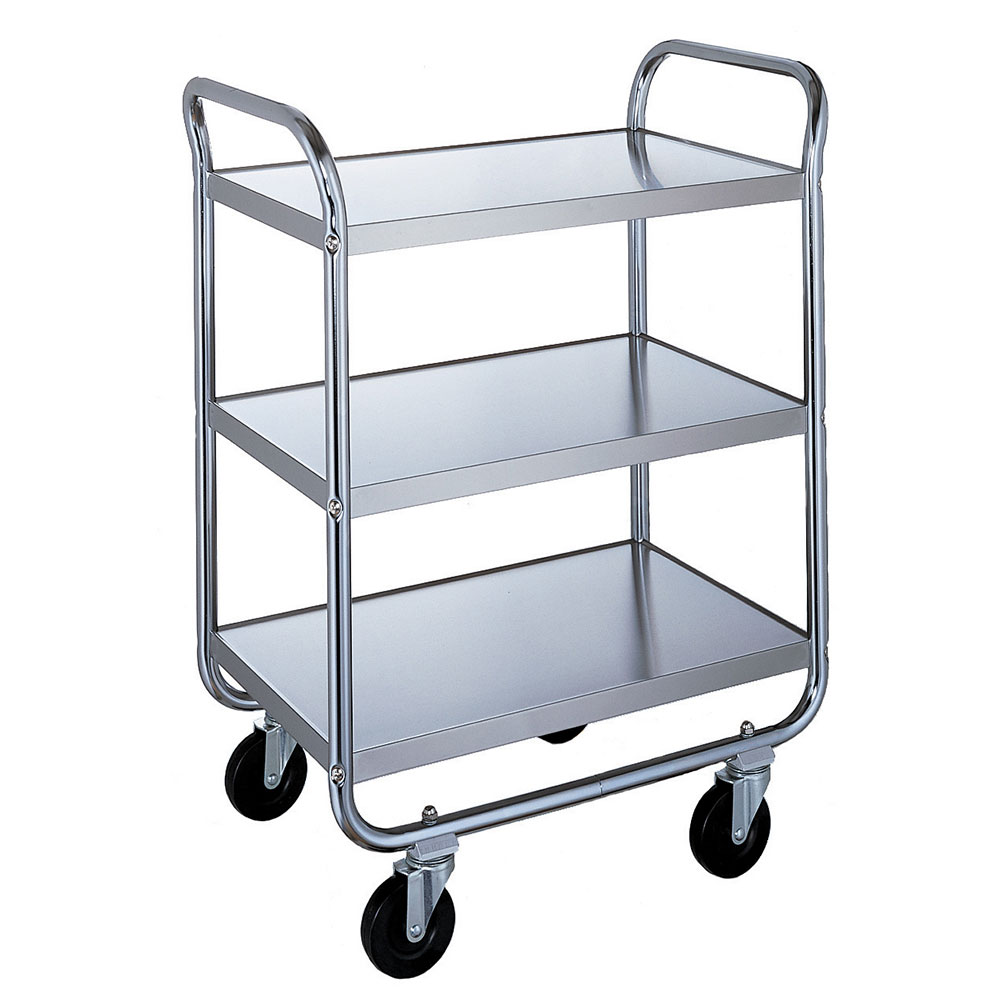 Lakeside 473 3-Level Stainless Utility Cart w/ 500-lb Capacity, Flat Ledges