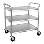 Lakeside 499 3-Level Chrome Plated Utility Cart w/ 500-lb Capacity, Flat Ledges