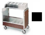 Lakeside 603 BLK Tray & Silver Cart w/ Pan Type Silver Dispenser, 500-lb, Black