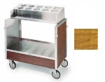 Lakeside 603 LMAP Tray & Silver Cart w/ Pan Type Silver Dispenser, Light Maple