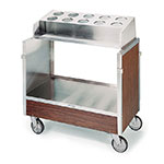 Lakeside 603 WAL Tray & Silver Cart w/ Pan Type Silver Dispenser, Walnut