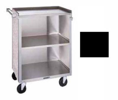 "Lakeside 610 BLK Enclosed Bussing Cart w/ (3) 15.5 x 24"" Shelves, 300-lb, Black"