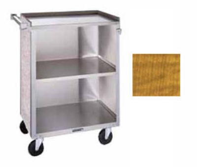 "Lakeside 610 LMAP 27.75""L Metal Bus Cart w/ (3) Levels, Shelves, Maple"