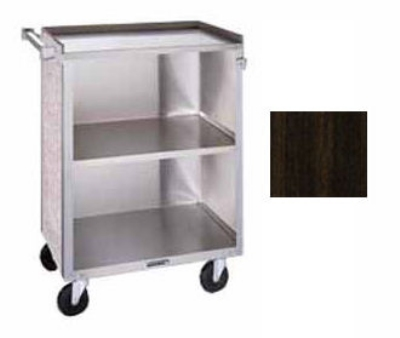 "Lakeside 610 WAL 27.75""L Metal Bus Cart w/ (3) Levels, Shelves, Walnut"