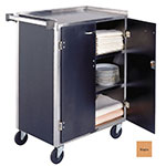 "Lakeside 615 LMAP 27.75""L Metal Bus Cart w/ (4) Levels, Shelves, Maple"