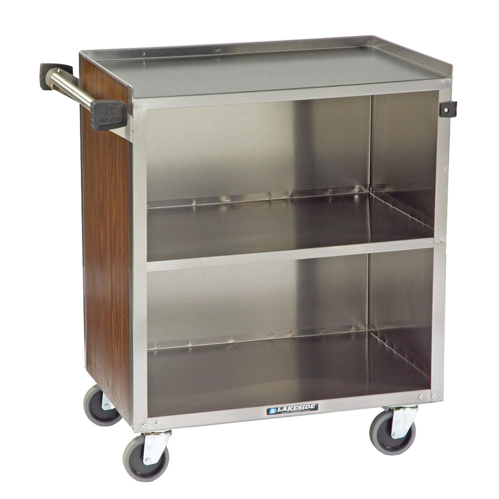 622 3-Shelf Bussing Cart w/ Enclosed Back & Sides, 500-lb Capacity