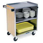 "Lakeside 626 LMAP 28.25""L Metal Bus Cart w/ (3) Levels, Shelves, Maple"