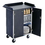Lakeside 636 BLK Laminate Beverage Service Cart w/ (3) 15.5 x 24-in Shelves, Black