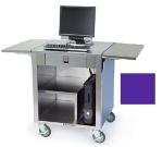 "Lakeside 641 Cashier Stand w/ 12"" Fold Down Tray Slides & Vented, Purple"