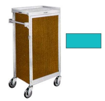 "Lakeside 654 TEAL Tray Delivery Cart w/ (6) 16 x 22"" & Removable Door, Teal"
