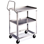 Lakeside 6600 2-Level Stainless Utility Cart w/ 300-lb Capacity, Raised Ledges