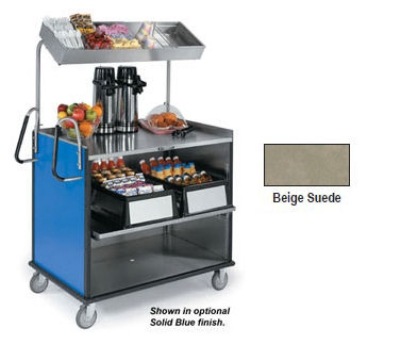 "Lakeside 660 BEGSU Food Cart w/ Overshelf, 49""L x 28.25""W x 72.15""H, Beige"