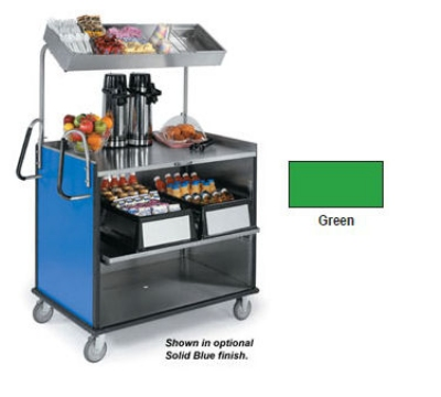 "Lakeside 660 GRN Food Cart w/ Overshelf, 49""L x 28.25""W x 72.15""H, Green"