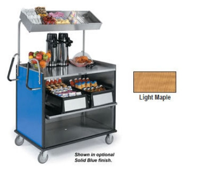 "Lakeside 660 LMAP Food Cart w/ Overshelf, 49""L x 28.25""W x 72.15""H, Light Maple"
