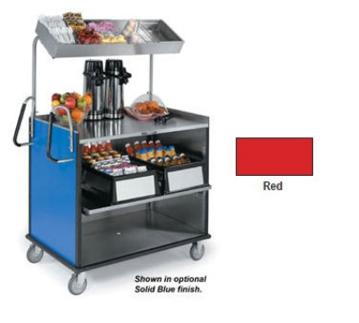 "Lakeside 660 RED Food Cart w/ Overshelf, 49""L x 28.25""W x 72.15""H, Red"