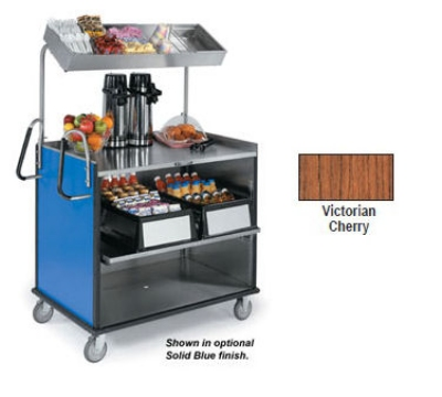 "Lakeside 660 VCHER Food Cart w/ Overshelf, 49""L x 28.25""W x 72.15""H, Victorian Cherry"
