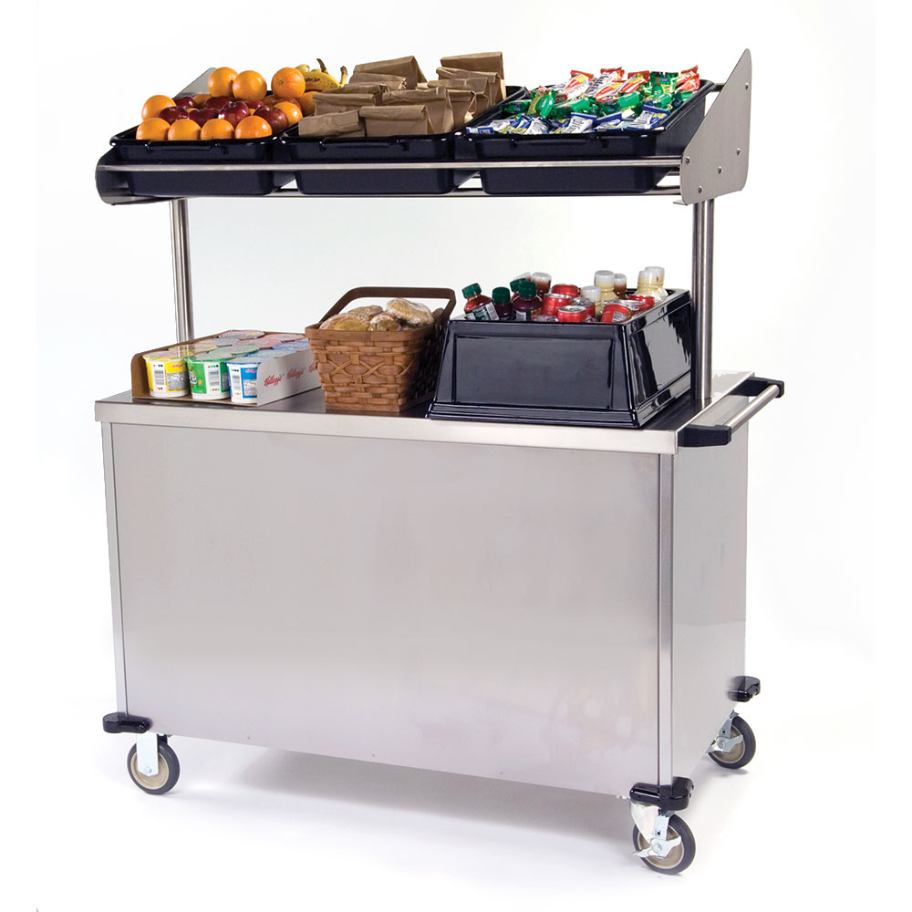 "Lakeside 663 Food Cart for Breakfast w/ Overshelf, 52.25""L x 28""W x 67""H, Stainless"