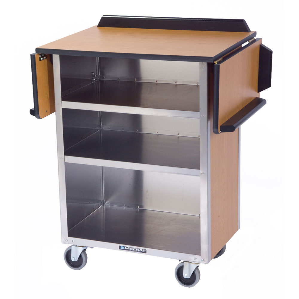 "Lakeside 672 LMAP 33.13"" Stainless Beverage Service Cart, 21""D x 38.31""H, Wood"