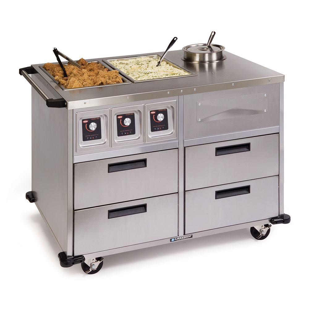"""Lakeside 6745 46"""" Mobile Food Station w/ 2-Dry Heat & 1-Soup Wells, 220 V"""