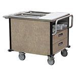Lakeside 6755 SuzyQ Hot Food Cart w/ (2) Full-Size Hot Wells - Walnut, 208v/1ph