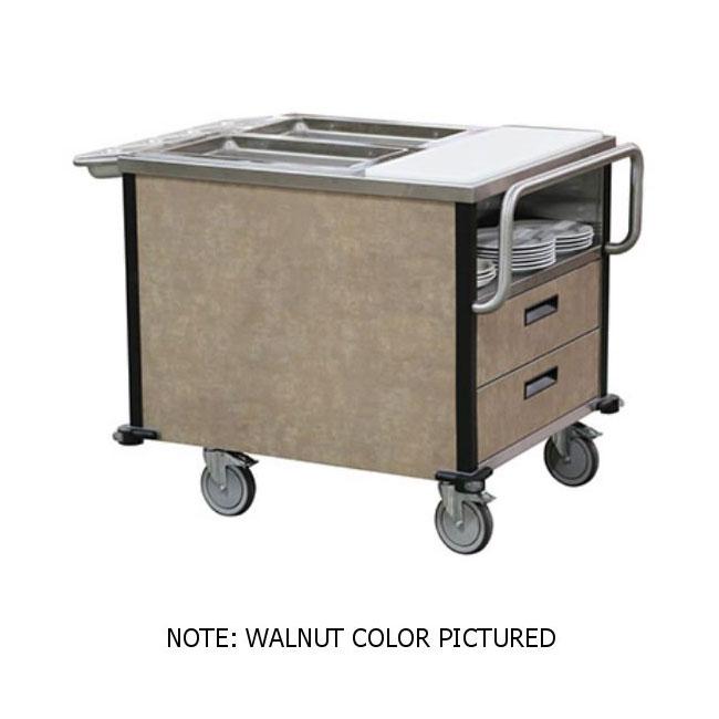 Lakeside 6755 SuzyQ Hot Food Cart w/ (2) Full-Size Hot Wells - Black, 208v/1ph