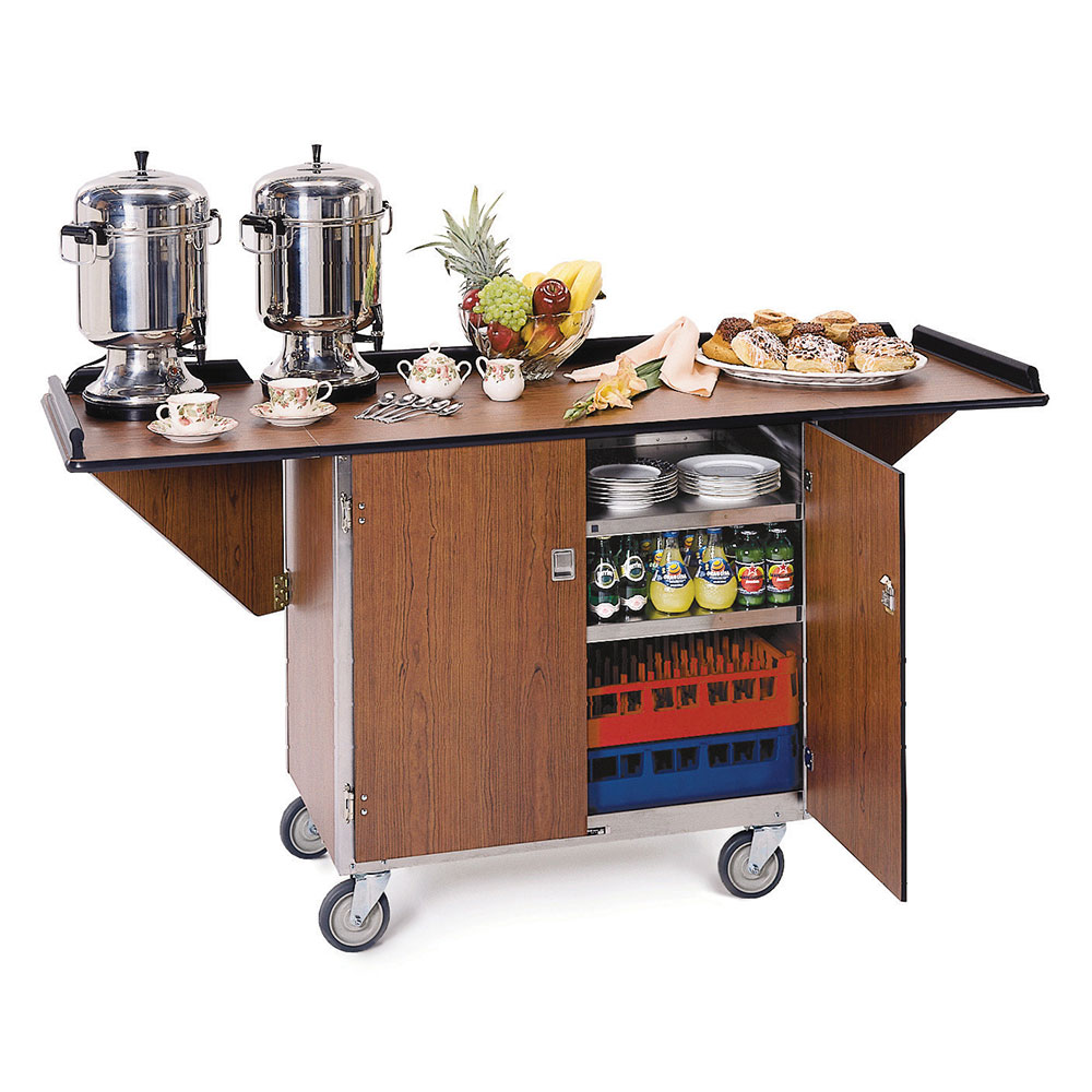 Lakeside 675 Beverage Service Cart w/ Drop Leaves & (3) 21 x 35-in Shelves