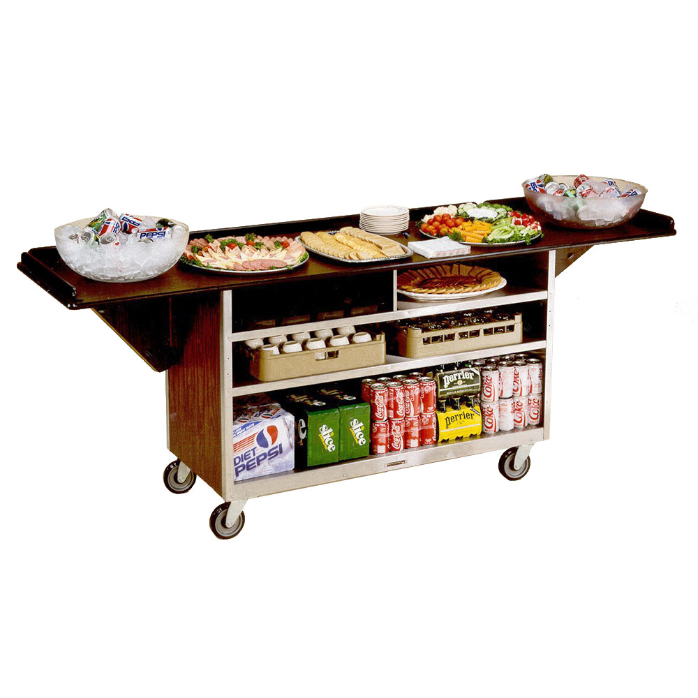 Lakeside 676 Beverage Service Cart w/ Drop Leaves, (3) 21 x 50-in Shelves