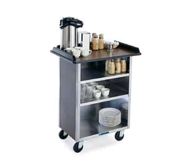 Lakeside 681 WAL Beverage Service Cart w/ (3) 21 x 50-in Shelves, Walnut