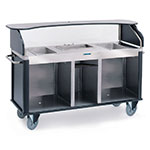 "Lakeside 682-20 BLK Kiosk-Type Food Cart w/ Enclosed Cabinet, 77.25""L x 28.25""W x 52.5""H, Black"