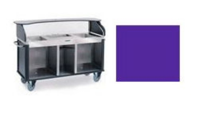 "Lakeside 682-10 PUR Kiosk-Type Food Cart w/ Enclosed Cabinet, 77.25""L x 28.25""W x 52.5""H, Purple"
