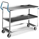 Lakeside 6830 2-Level Stainless Utility Cart w/ 500-lb Capacity, Raised Ledges