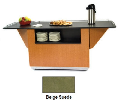 "Lakeside 6850 BEGSU 87.25"" Breakout Dining Station w/ 2-Compartment, Beige Suede"