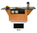 "Lakeside 6855 BLK 99"" Breakout Dining Station w/ Drop Leaf & 2-Compartment, Black"