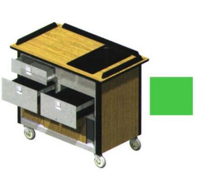 "Lakeside 690-30 GRN Food Cart w/ Drawers, 44.5""L x 24.5""W x 37.75""H, Green"