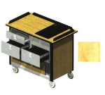 "Lakeside 690-30 HRMAP Food Cart w/ Drawers, 44.5""L x 24.5""W x 37.75""H, Hard Rock Maple"
