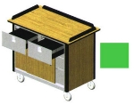 "Lakeside 690-40 GRN Food Cart w/ Drawers, 44.5""L x 24.5""W x 37.75""H, Green"