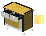 "Lakeside 690-40 HRMAP Food Cart w/ Drawers, 44.5""L x 24.5""W x 37.75""H, Hard Rock Maple"