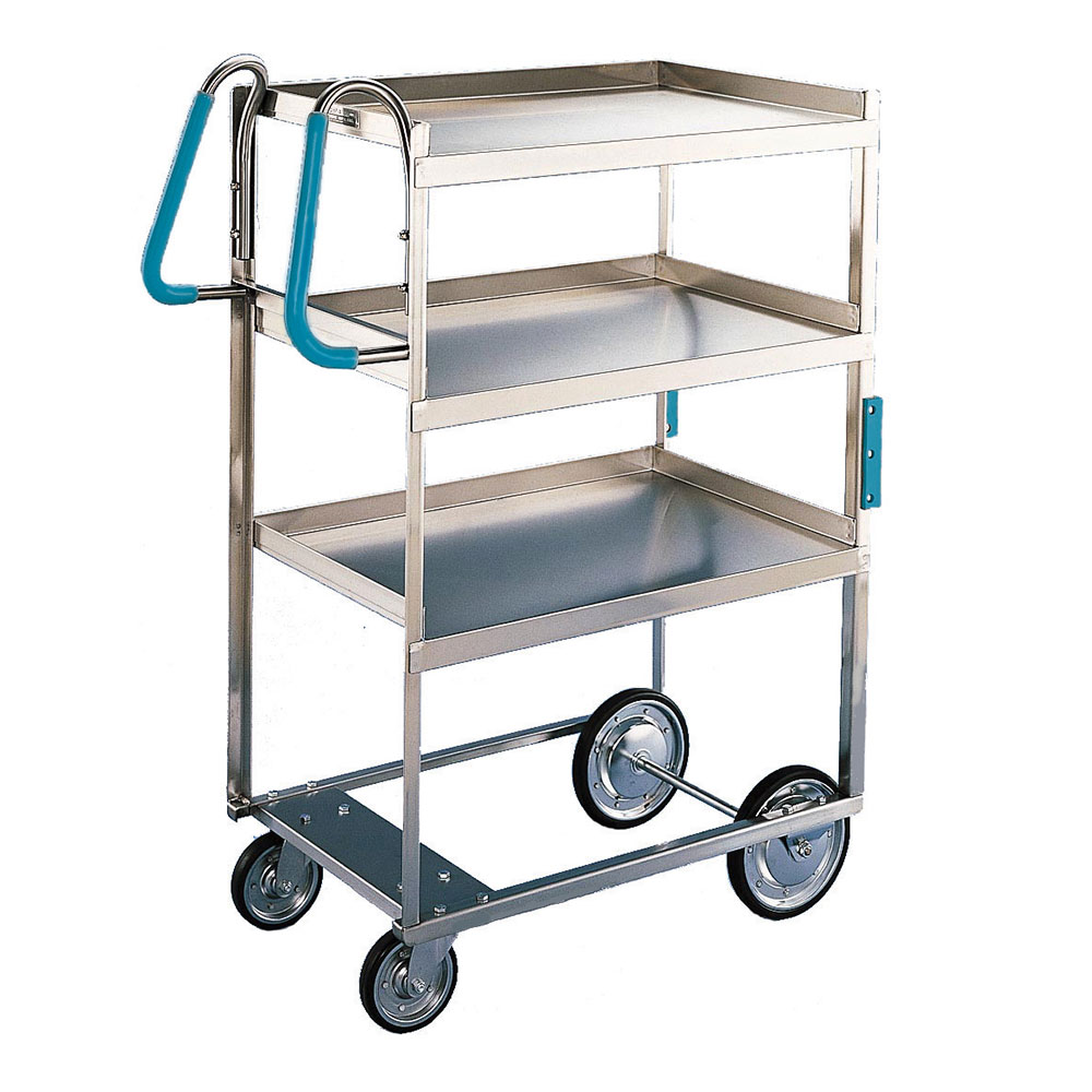 Lakeside 7015 3-Level Stainless Utility Cart w/ 700-lb Capacity, Raised Ledges