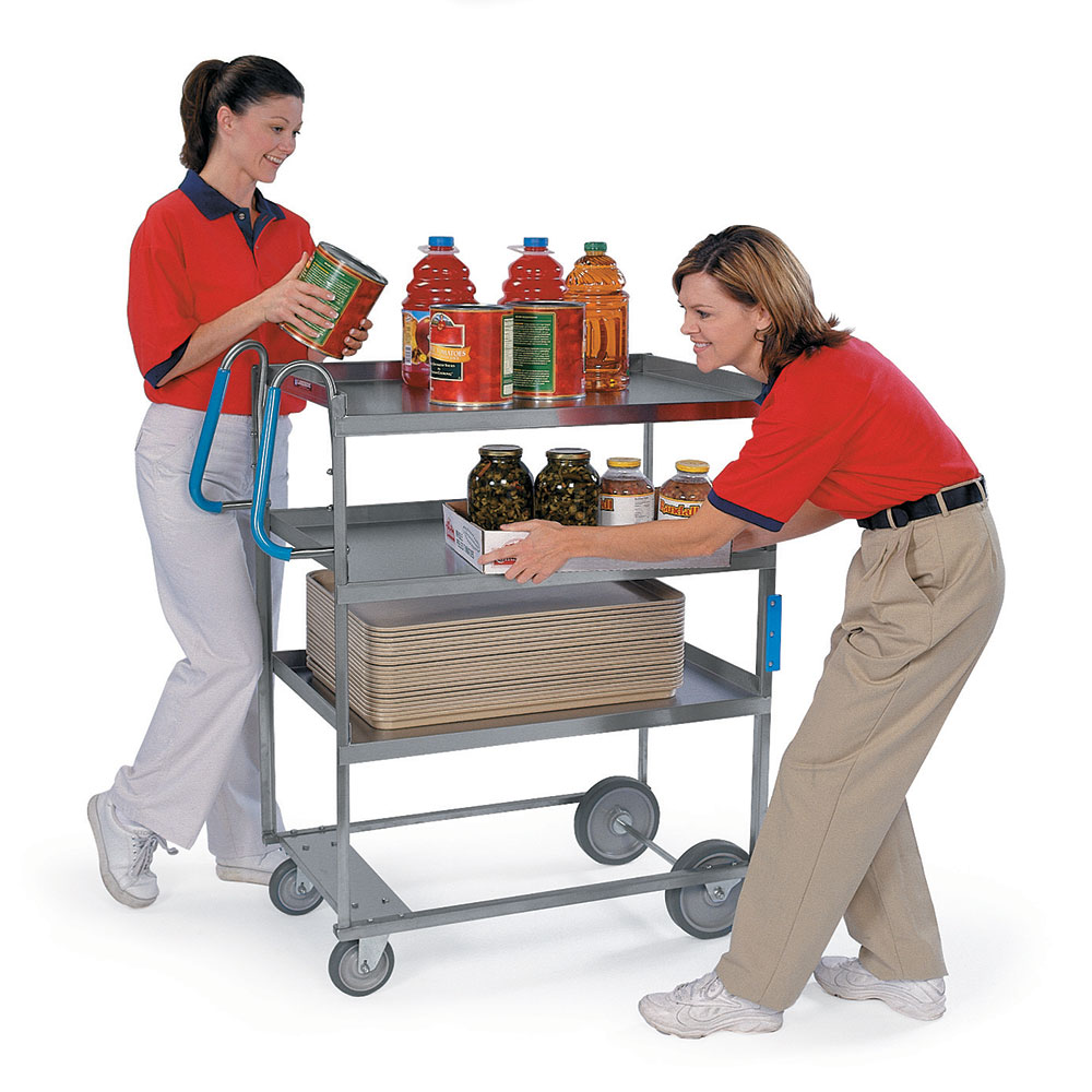 Lakeside 7025 3-Level Stainless Utility Cart w/ 700-lb Capacity, Raised Ledges