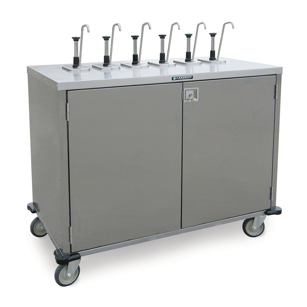 "Lakeside 70271 Pump Style Condiment Cart w/ (12) Dispensers, 48.5""H"