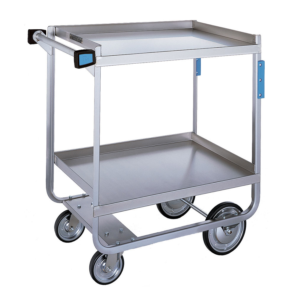 Lakeside 721 2-Shelf Utility Cart w/ Open Base & Push Handle, 700-lb Capacity