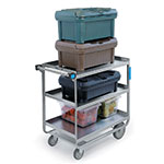 Lakeside 744 3-Level Stainless Utility Cart w/ 700-lb Capacity, Raised Ledges