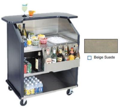"""Lakeside 884 BEGSU 43"""" Portable Bar w/ 40-lb Ice Bin & Speed Rail, Beige Suede"""