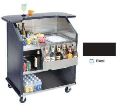 "Lakeside 884 BLK 43"" Portable Bar w/ 40-lb Ice Bin & 7-Bottle Speed Rail, Black"