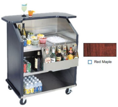 "Lakeside 884 RMAP 43"" Portable Bar w/ 40-lb Ice Bin & Drain, Speed Rail, Red Maple"